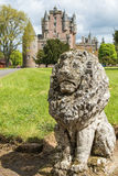 Lion guardian in front of Glamis castle Royalty Free Stock Image