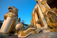 Lion guardian statue in Shwedagon Pagoda , Yangon. Royalty Free Stock Image