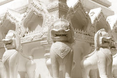 Lion guardian statues in Buddhism Temple Stock Photography