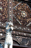 Lion guardians in Thai temple. Royalty Free Stock Photography
