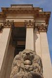 Lion Guarding ein Gebäude Stockbild