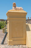 Lion guarding the entrance to the Castle of Good Hope Royalty Free Stock Image