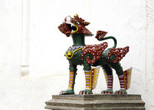 A lion guarding inside the Nasal Chowk Courtyard of Hanuman dhoka durbar Royalty Free Stock Photography