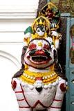 A lion guarding the main coutyard of Hanuman dhoka durbar Royalty Free Stock Photo