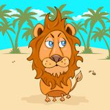 Lion hand drawing, cartoon character, vector illustration, caricature, card, cover, design element. Colorful painted comical cute. Funny leo on the background royalty free illustration