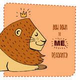 Lion hand drawn illustration. Vector illustration. Can be used for your design, cards, etc stock illustration