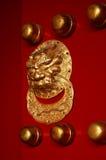 Lion handle door. A lion handle of an ancient Asian door royalty free stock photos