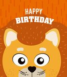 Lion Happy birthday card. Lion cartoon on happy birthday card vector illustration graphic design Stock Images