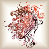 Lion Head. Illustration of Tattoo Lion Head pattern Royalty Free Stock Photos