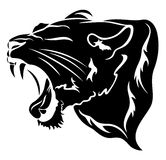 Lion head. Roaring big cat vector illustration - black over white Royalty Free Stock Images