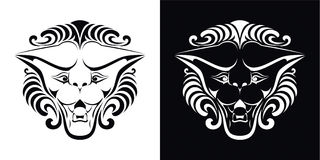 Lion head. Black and white vector illustration Stock Photo