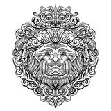 Lion Head with abstract ornament. Vintage tattoo art design, card, print, t-shirt, postcard, poster. Black and white hand drawn vector illustration Royalty Free Stock Images