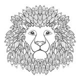 Lion head. Adult antistress coloring page. Black white hand drawn doodle animal. Ethnic patterned vector. African, indian, totem tribal, zentangle design Stock Images