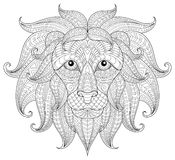 Lion head. Adult antistress coloring page Royalty Free Stock Images