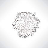 Lion head. African animal lion face isolated  silhouette i Stock Photo