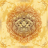 Lion Head with baroque ornament on grunge aged paper background. Vintage tattoo art. Concept design for card, print, t-shirt, postcard, poster. Hand drawn Royalty Free Stock Images