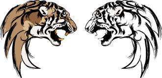 Lion head in black and colour interpretation. Ca bee use like tattoo or logo or icon Stock Image