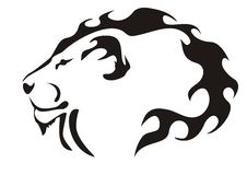 Lion head. Black on white Royalty Free Stock Photos