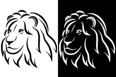 Lion head. Black and white silhouette. Logo. Vector illustration Stock Images