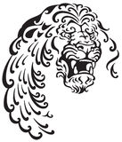 Lion head. Black and white tattoo illustration Stock Images