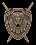 Lion Head Blazon. Artistic sculpture of a lion head on the shield with the crossed swords, isolated on black background. 3D rendered image Royalty Free Stock Photos