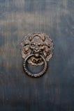 Lion head for brass door knocker. Lion head knocker on the entrance door Stock Photos