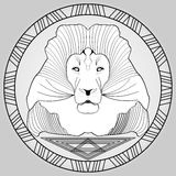 Lion head in circle frame, black and white drawing Stock Images