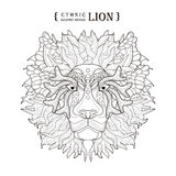Lion head. Coloring page in exquisite style Stock Image