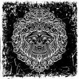 Lion Head con el ornamento abstracto en fondo del grunge stock de ilustración