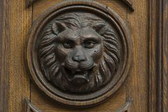 Lion head on the door. Lion head decoration on the heavy wooden entrance door Stock Photos