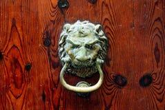 Lion head door knob. Decorative bronze lion head door knob stock image