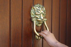 Lion Head Door Knocker Royaltyfri Foto