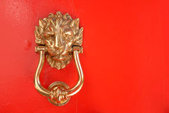 Lion Head Door Knocker Royaltyfria Bilder