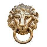 Lion head, Door knocker. Isolated on white Stock Image