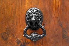 Lion Head Door Knocker. On wooden background stock image
