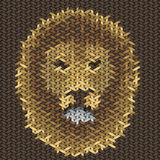Lion head embroidery on fabric pattern Royalty Free Stock Photos