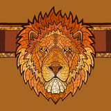 Lion head with ethnic ornament Royalty Free Stock Photo