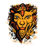Lion head. Ethnic pattern. Lion head. Tribal pattern. Ethnic tattoo. Vector illustration Stock Images