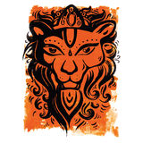Lion head. Ethnic pattern. Royalty Free Stock Photos
