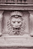 Lion Head on the Facade of Pitti Palace Museum, Florence. Italy in Black and White Sepia Tone stock photos