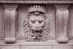 Lion Head on the Facade of Pitti Palace Museum, Florence. Italy in Black and White Sepia Tone Royalty Free Stock Photo