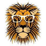 Lion head face in the glasses vector illustration flat Stock Image