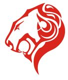 Lion head fire icon concept. Tribal flaming head of a lion formed by tongues of flame for your design. Red on white Royalty Free Stock Photos