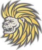 Lion Head With Flowing Mane retro stock de ilustración