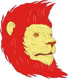 Lion Head With Flowing Mane teckning stock illustrationer
