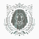 Lion head in frame. Lion linear head in tribal frame.Vector colorful illustration in flat style with grunge texture Royalty Free Stock Photo