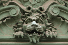 Lion head. Funny mascaron on the Art Nouveau building Royalty Free Stock Photo