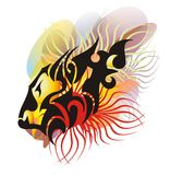Lion head gradient splashes. Grunge tribal lion head symbol for your design Royalty Free Stock Photography