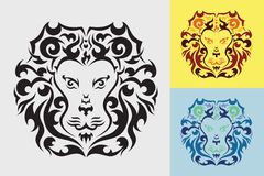 Lion head graphic. Lion head tribal art graphic style Royalty Free Stock Images