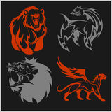 Lion head, griffin fyl bear tattoos and designs. Lion head, griffin fyl bear tattoos and designs on tribal style Royalty Free Stock Image